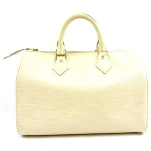 Speedy Nm New Model Epi Off-white Leather Satchel